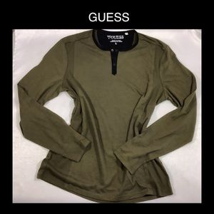 GUESS Large Olive Green Long Sleeve